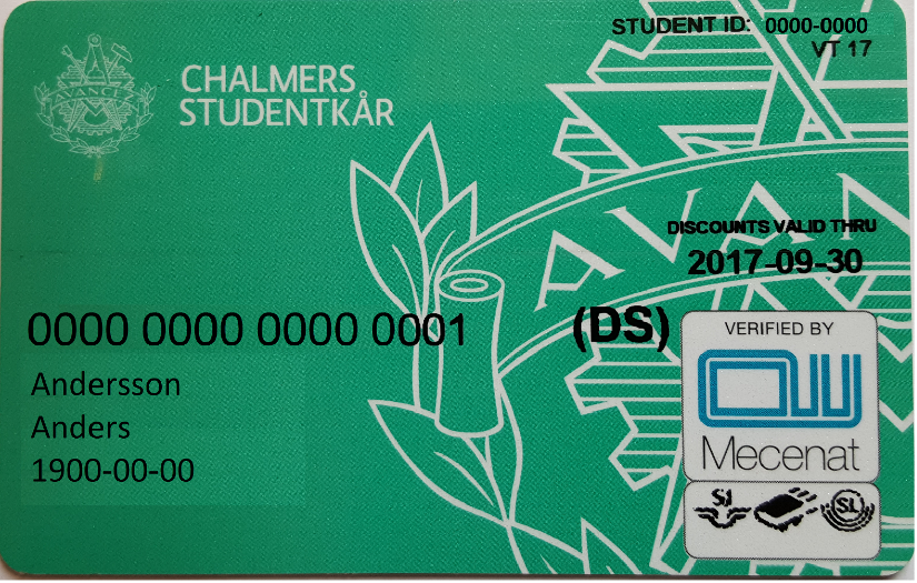 Student Union card with DS Logo. The color might vary